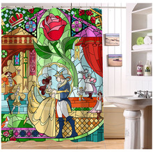 U412-64 Custom Home Decor Beauty Rose and Beast Fabric Modern Shower Curtain European Style bathroom Waterproof