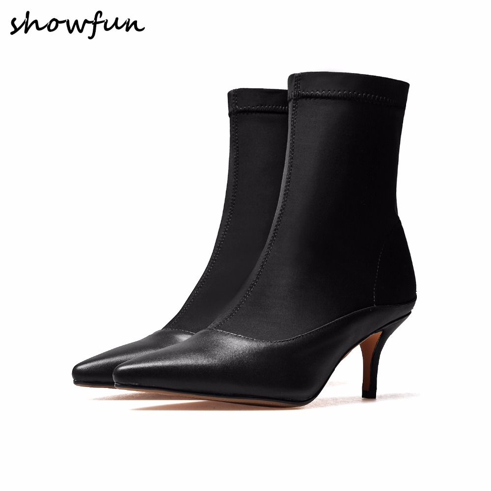 Womens genuine leather stretch fabric patchwork spring autumn black ankle boots brand designer pointed toe short booties shoes
