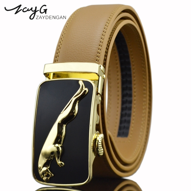 Back To Search Resultsapparel Accessories Zayg Men Business Style Gold Steel Buckle Belt Unique Leather Strap Sliding Ratchet Alloy Automatic Buckle Men Top Quality Belt