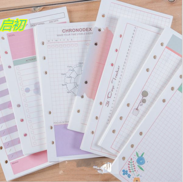 20 листов/серия A6 A5 Девчушки Красочные заправки тетрадь заменить цвет core вкладыш канцелярские планировщик кольцо binder бумаги