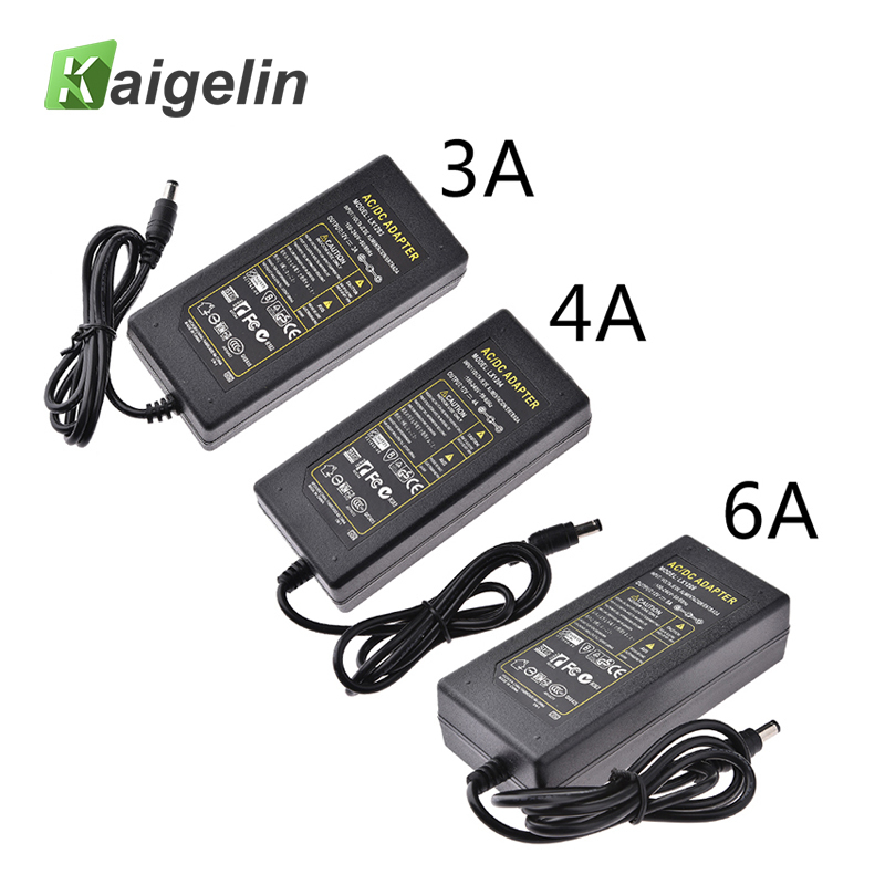 100V -240V <font><b>AC</b></font> to <font><b>DC</b></font> <font><b>12V</b></font> <font><b>3A</b></font> 4A 6A 60W Charger Lighting LED Driver Switch Power Supply Adapter For LED Strip light 3528 5050 image
