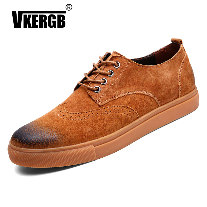 VKERGB Casual   Suede     Leather   Driving Moccasins Slip on Formal Loafers Men Shoes Male Dress Lace-Up Wear Comfortable Safety Gray