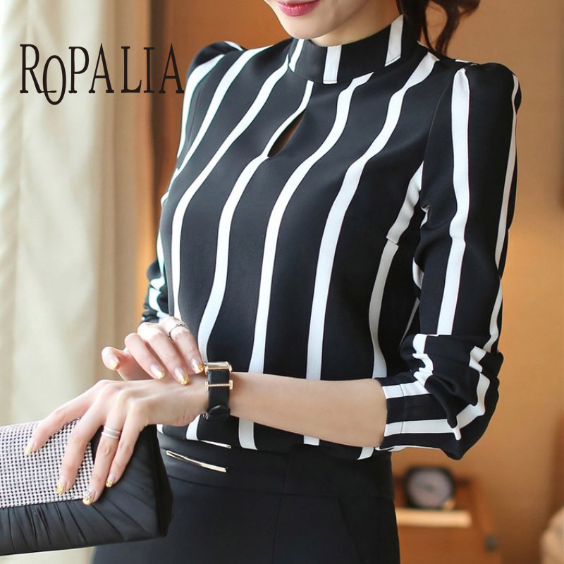 Casual Women Hollow Out Full Sleeve Striped Chiffon Blouse Women Office Shirts Cloth Tops