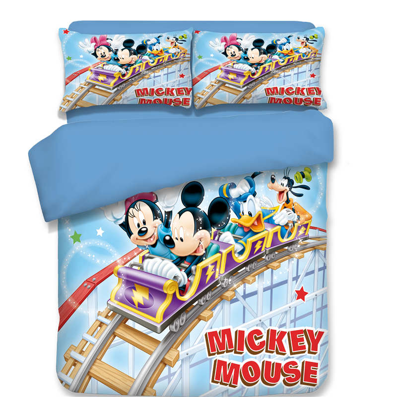 cute mickey minnie mouse bedding set twin queen king size cartoon character duvet cover set 3d bed linens children girl textiles
