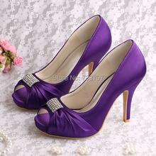 Wedopusการออกแบบใหม่รองเท้าสำหรับงานแต่งงานผู้หญิงสีม่วงแพลตฟอร์มปั๊มตารางนิ้วเท้าDropship
