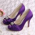 Wedopus Novo Design de Sapatos para As Mulheres de Casamento Roxo com Saltos Bombas da Plataforma Do Dedo Do Pé Quadrado Dropship