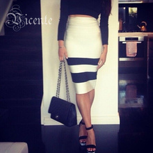 HOT! Free Shipping! New High Quality VJ006 Fashion Striped Over Knee Length Bodycon Demi Bandage Skirt