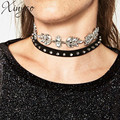 2pcs/Set Rivet Velvet Choker Rhinestone Crystal Choker Necklace & Pendants For Women Statement Necklace Bisuteria Mujer F6286