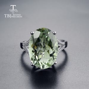 Image 2 - גדול ירוק אמטיסט טבעת טבעי חן טבעת 925 כסף סטרלינג תכשיטים עבור בנות נחמד שחור שישי & חג המולד מתנה