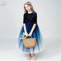 First Communion Dresses for Girls 2019 Navy Blue White Gradient Color Velvet Ankle Length O Neck Half Sleeves Tulle Flower Girl