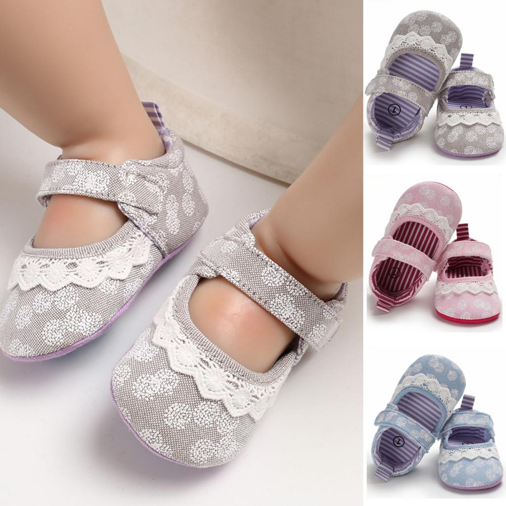Toddler Infant Baby Shoes Girl Soft Sole Embroidery Lace Sandals Shoe Single Shoes Printed Velcro Single Shoe Scarpe Neonato A1