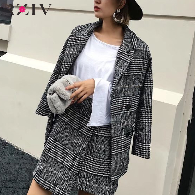 RZIV 2017 Fall Women blazer and coat casual plaid double breasted suit Slim suits jacket coat