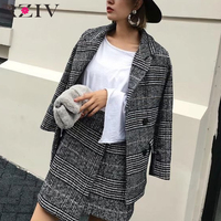 RZIV 2017 Fall Women Casual Plaid Double Breasted Suit Slim Suits