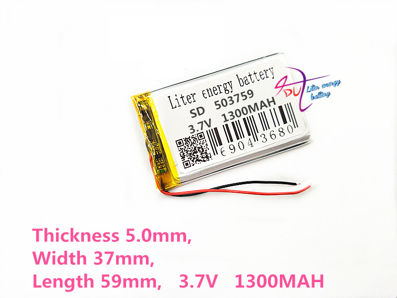 Liter energy battery 3.7V 1300mAh lithium polymer battery 503759 navigator MP3 GPS universal rechargeable battery