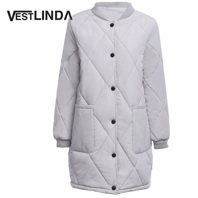VESTLINDA Casual Stand Collar Down Coat Parkas Front Pocket Warm Padded Coat Women Solid Buttom Female Long Winter Mujer Coats