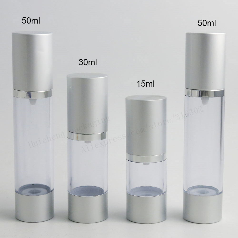 12 X 15ml 30ml 50ml Refillable Airless Pump Bottles Silve Mini 10a 2p Miniature Circuit Breaker Dz4763 C10 Diy Electricals Portable Vacuum Cosmetic Treatment Travel Bottle