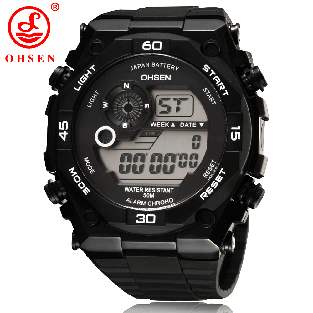 2014 New Mens Sports Watches OHSEN Brand Alarm Chronograph Digital LED Outdoor Dress Wristwatch Military Watch Relogio Masculino