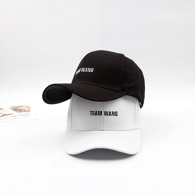 Star Jackson Wang Team Wang Letter Embroidery   Baseball     Cap   Rap Leisure Black White Hats Harajuku Hat Hip-Hop