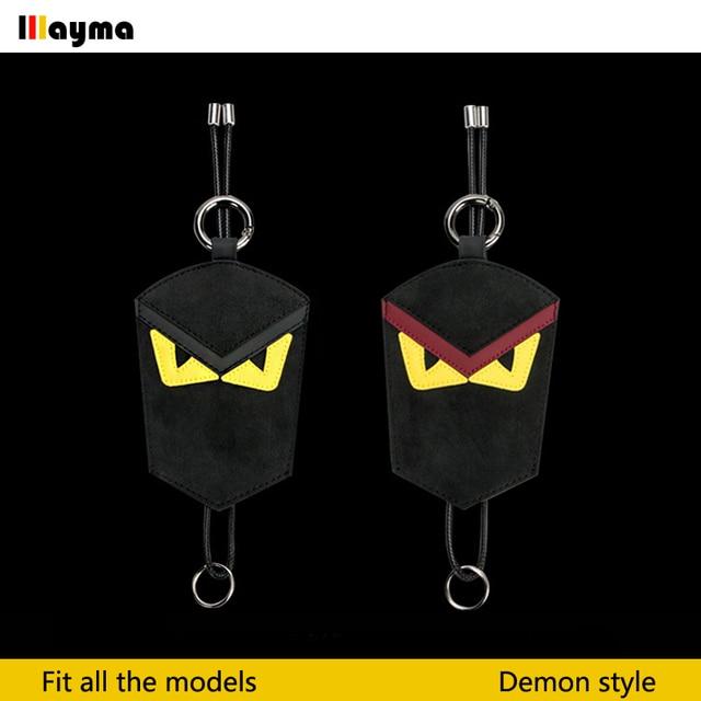 US $25 5 15% OFF|Demon style Alcantara car key case for golf 6 MK7 Scirocco  R glof R32 Passat r36 key bag Nappa black color key chain-in Key Case for