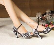 New Women Zebra Print Satin Latin Dance Shoes Latin Ballroom Shoes Salsa Dance Dancing Shoes Tango Dance Shoes Free Shipping