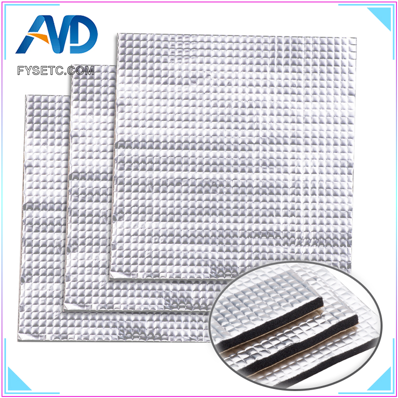 1PC Heat Insulation Cotton 200/300mm Foil Self-adhesive Insulation Cotton 10mm Thickness 3D Printer Heating Bed Sticker