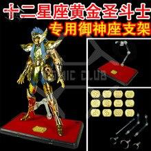 Saint seiya Lote de 12 Uds. De figuras de acción de saint seiya, juguete de myth action EX stand con 12 Uds. De placas identificativas de constelaciones de metal