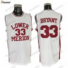 DUEWEER Mens Lower Merion High School Basketball Jerseys Vintage White 33  Kobe Bryant 5b2302612