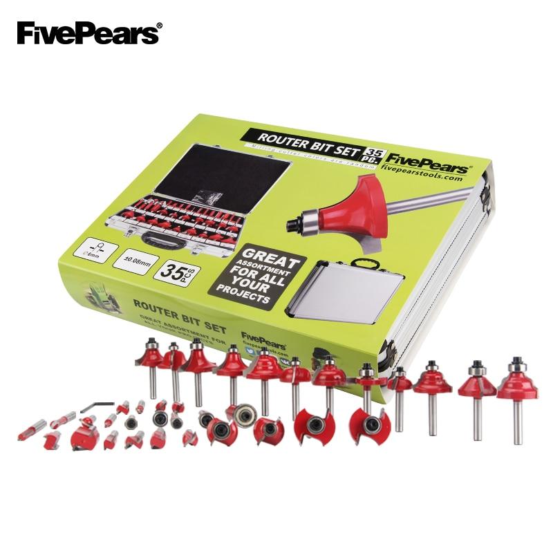 FivePears 6 milímetros Shank 35pcs Conjunto Profissional carpintaria Router Bits Carboneto De Tungstênio Fresa Com Caixa De Armazenamento De Metal