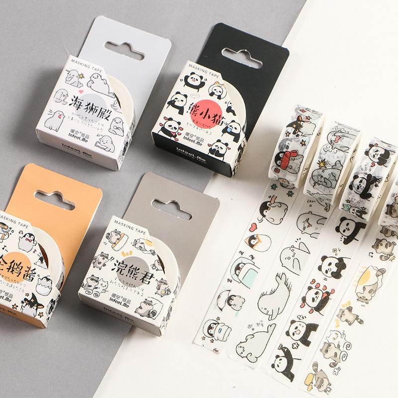 2pcs Colorful Cartoon Washi Tape Cute Masking Tapes DIY Scrapbooking Stickers