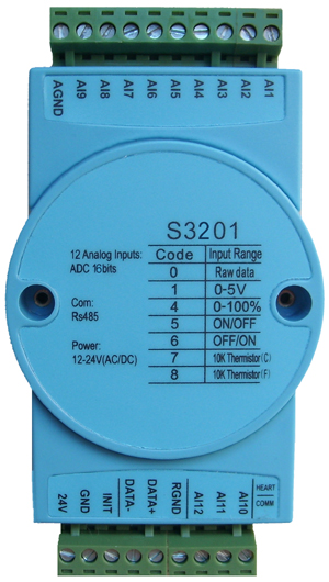 12 Way 0 5v  Dry Contact  10k Thermistor Analog Input Module  16 Bit Adc