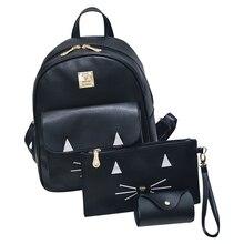 Колледж стиль kitty шаблон Предназначен милые Женщины Рюкзак Девушки Кожа Школьные Сумки женщины композитный сумка Рюкзаки 3 Шт./компл.