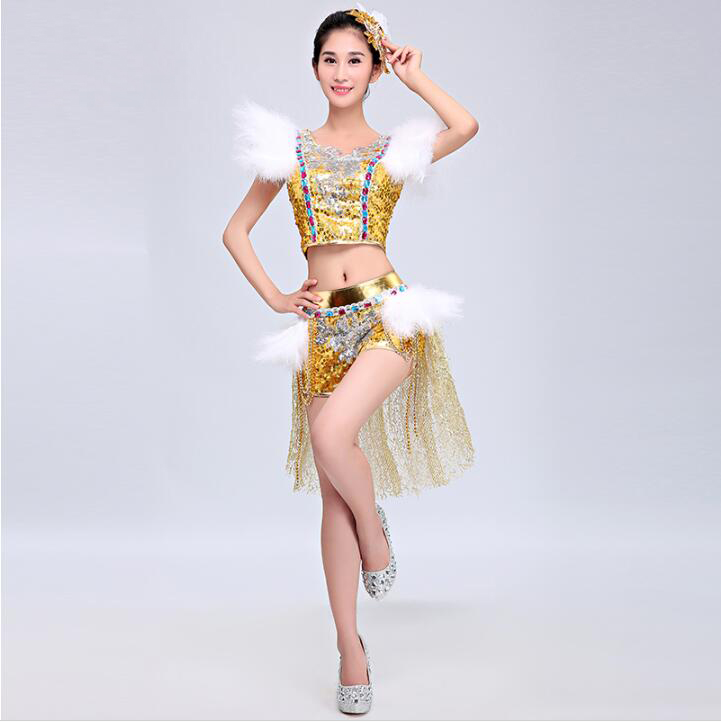 2016 New Fashion Modern Jazz Dance Dress Sexy Gold Sequins Bright Costumes Female Singer Dj Ds Costumes Dancing Paillette Skirt