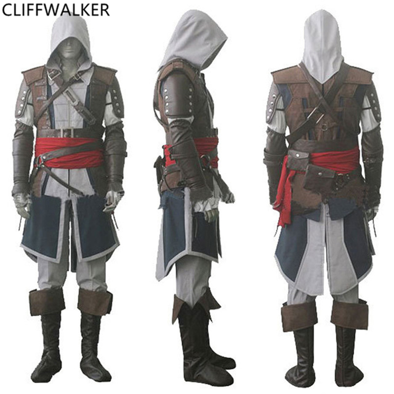Assassin's Creed IV 4 Black Flag Edward Kenway Halloween Gray Cosplay Costume Superhero Assassin Creed Whole Set Costume assassin s creed 4 black flag essentials [ps3]