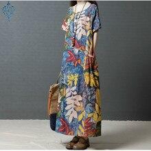 Ameision Summer 2019 Eleagnt Work OL Vestido Women Casual O Neck Short Sleeve Vintage Floral Printed Cotton Linen Maxi Dress