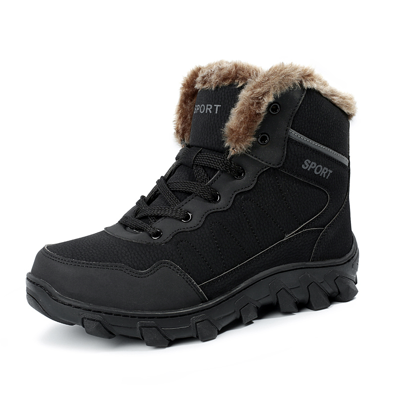 2017 Hot Sell Big Size Outdoor Boots Men High Top Warm Snow Boots Winter Hiking Shoes Leather Men Trekking Sneakers Black big size 46 men s winter sneakers plush ankle boots outdoor high top cotton boots hiking shoes men non slip work mountain shoes