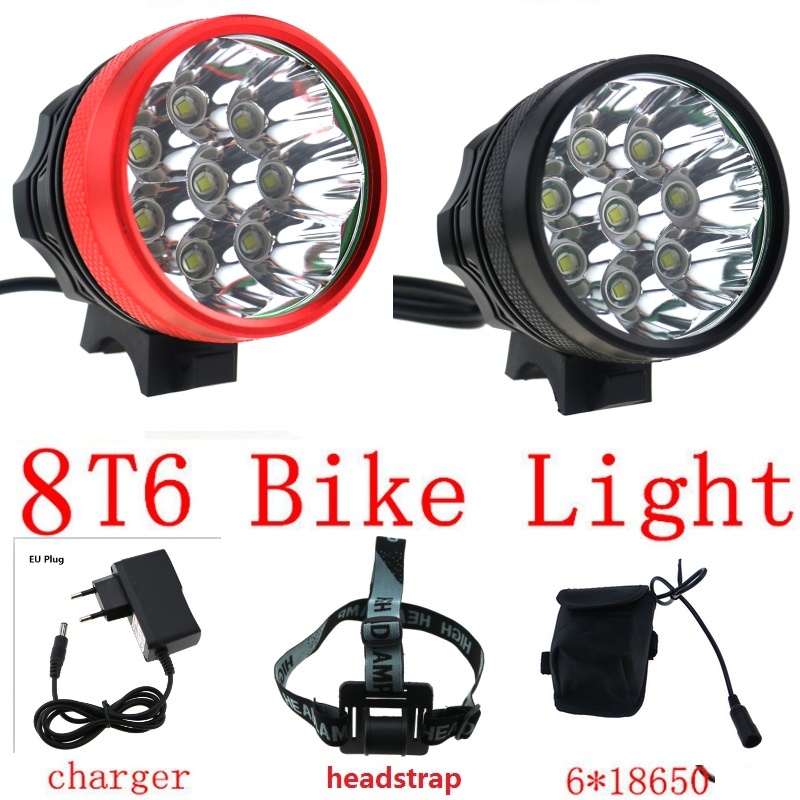 12000 lumens 8T6 Bike Headlight for bicycle 8x Cree XM-L T6 Cycling Helmet Head Lamp + 18650 Battery Pack + Charger 15000 lumen bicycle cycling lamp 8x cree xm l2 led bike front light headlight 18650 battery pack charger bike rear light
