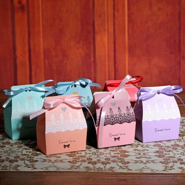 50 pcs sweet love Favor Do Casamento Caixa de Doces de chocolate com Fita  de casamento