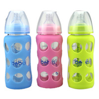 Bottles Feeding Baby 240ml Silicone Cover Shatter Proof Wide Mouth Arc Anti Scald Glass Milk Feeding