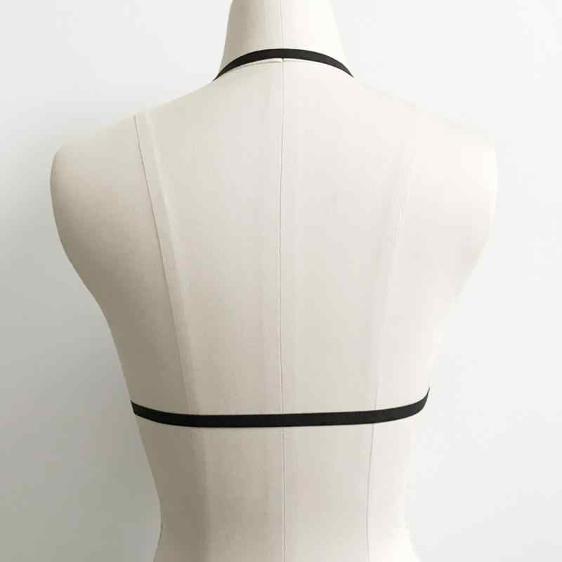 86a4bd0336b ... Girl Hollow Out Elastic Cage Bra Bandage Strappy Halter Bra Bustier  Cropped Belt Harness Bra Crop