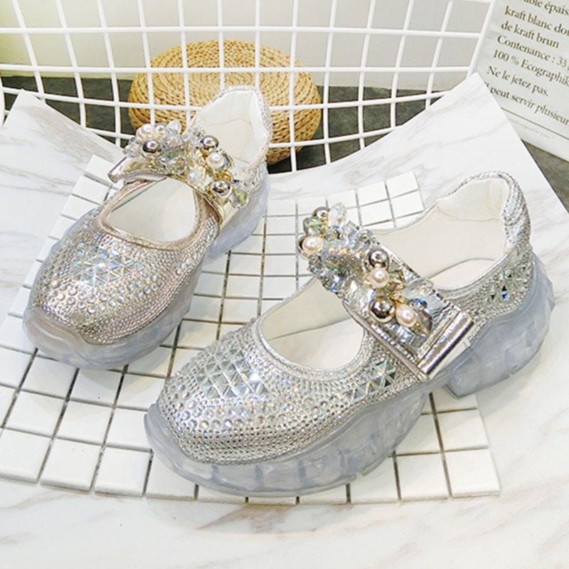 Women's Vulcanize Shoes Jelly Shoe 2019 Spring Summer Fashion Rhinestone Chunky Mary Janes Shoes Transparent Platform Sneakers