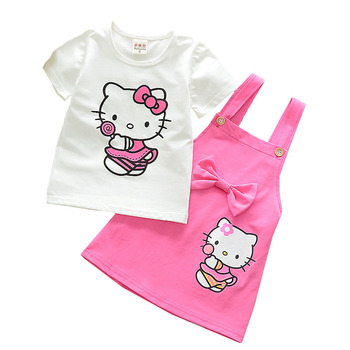 цена на Girl Clothes Cotton Suspender Skirt Two-piece Summer Short-sleeved T-shirt Kt Cat Cartoon Printing 1-4 Y Child Quality Clothing