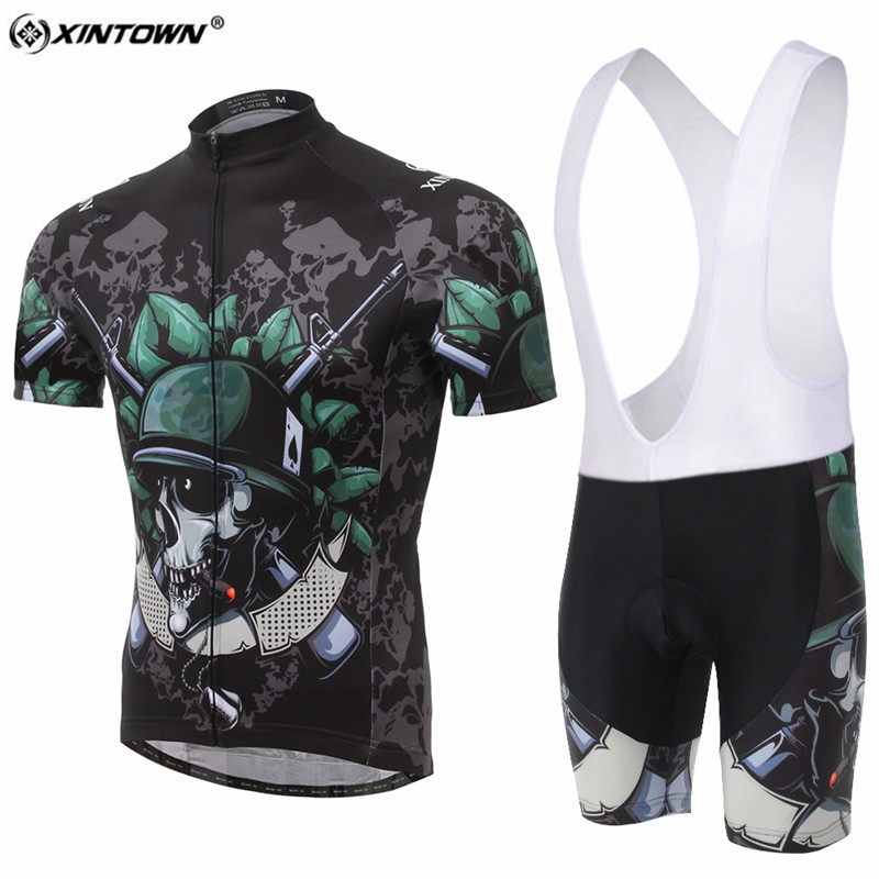 XINTOWN New Skull Soldier Short Sleeve Cycling Jersey Set MTB Bike Clothing Bicycle Jerseys For Men Sweat Pro Road Clothes
