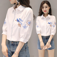 White shirt female long sleeved Korean version of the wild women loose thin shirt embroidered cotton shirt