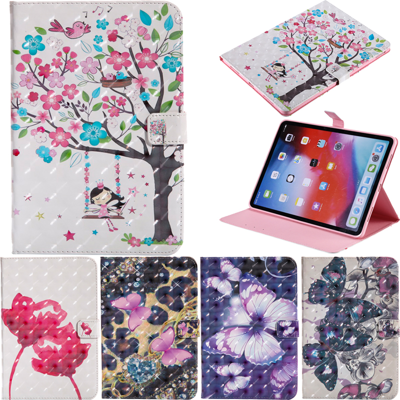 Fashion 3D Print Style Leather Flip Wallet Tablet Case Cover Silicone Shell Skin Coque Funda Stand For Apple iPad Pro 12 9 2018 in Tablets e Books Case from Computer Office