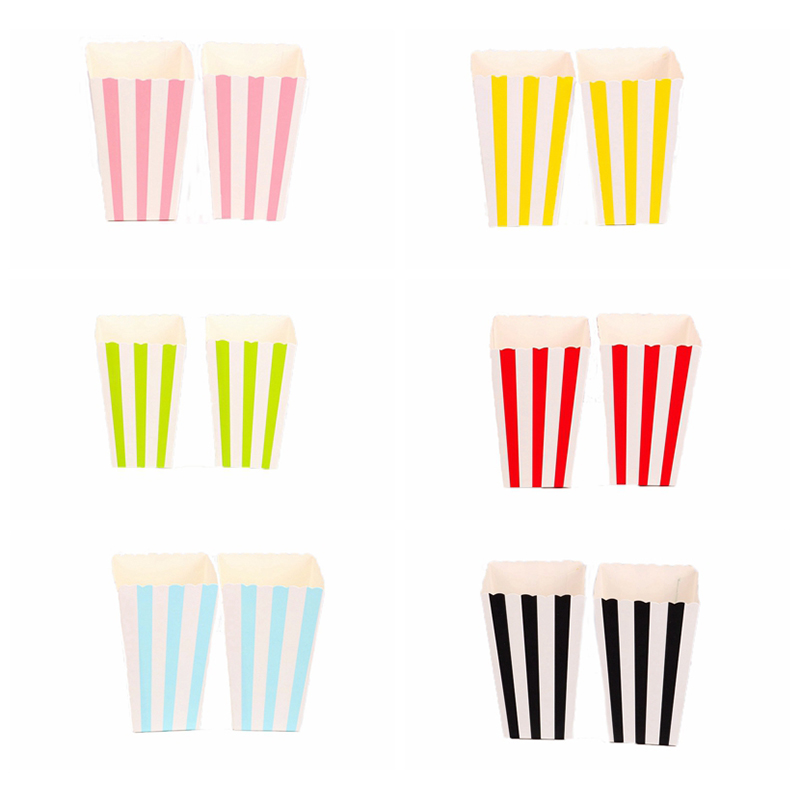 6pcs/lot Stripe Popcorn Boxes Birthday Party Wedding Baby Shower Party Decorations Kids Candy Box Event Supplies Latest Technology Home & Garden
