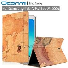 Mapa de lujo pu funda de piel para samsung galaxy tab un 9.7 SM-T550 SM-T555 con ranuras de tarjetas de crédito Monedero cubierta de cuero caso