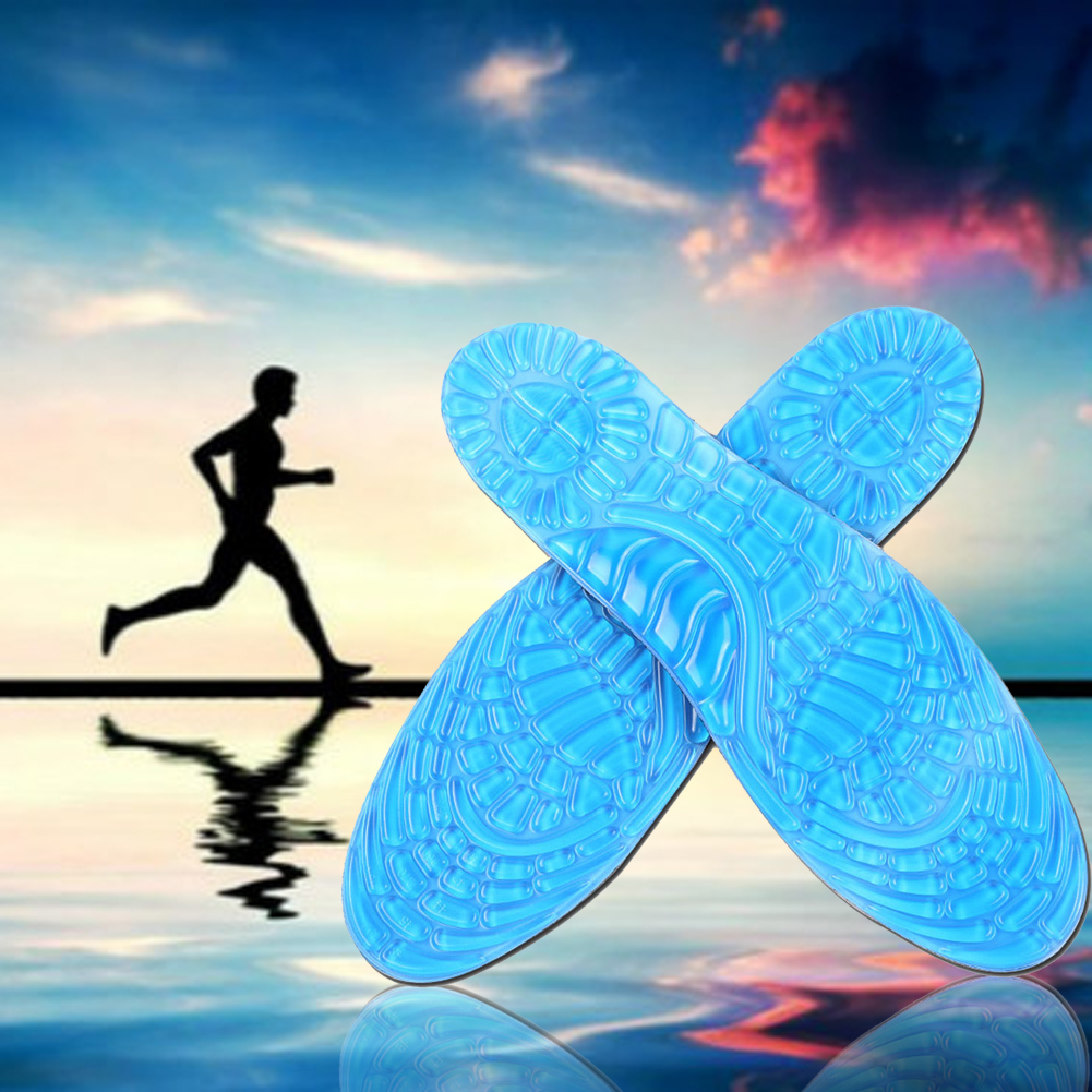 1 Pair Unisex Anti-Slip Gel Soft Running Basketball Sport Shoe Insole Orthotic Arch Support Massaging Silicone Pads Size L40-45