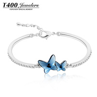 Hot Sale T400 Made With Swarovski Elements Crystal Bangle For Women Butterfly Crystal Stone 3318 Free