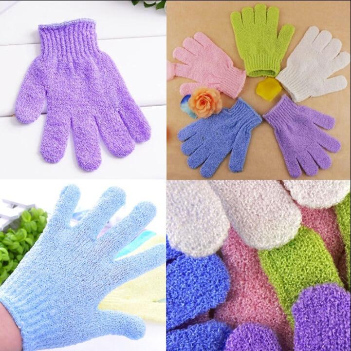 1 Piece Exfoliating Gloves Mitt Bath Shower Scrub Tan Dead Skin Removal Exfoliator Elastic Five-Finger Bath Gloves Random Color
