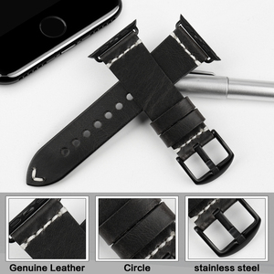 Image 2 - MAIKES Vintage Oil Wax Leather Strap For Apple Watch Band 42mm 38mm / 44mm 40mm Series 4/3/2/1 iWatch Black Bracelet Watchband